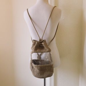 Vintage Straw & Clear PVC Drawstring Backpack